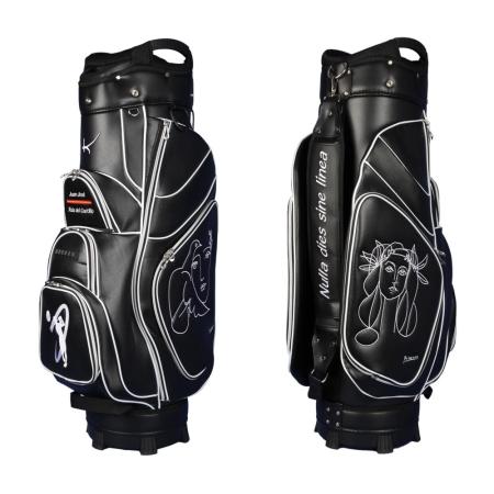 Golf bag / cart bag type GENEVA in black. Bauhaus style. Design 5 custom areas online. HANDMADE