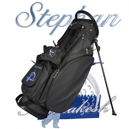 Golf bag / stand bag WATERVILLE in black. Design online 2 custom areas: ball pocket + carrying system