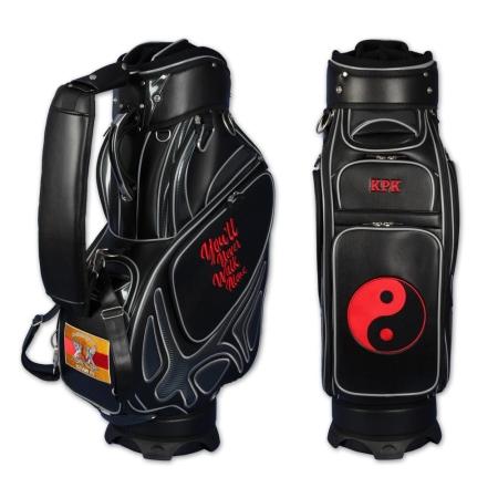 5 zone ricamate. Sacca da golf staff MONTROSE personalizzata in nero. Disegnare in linea