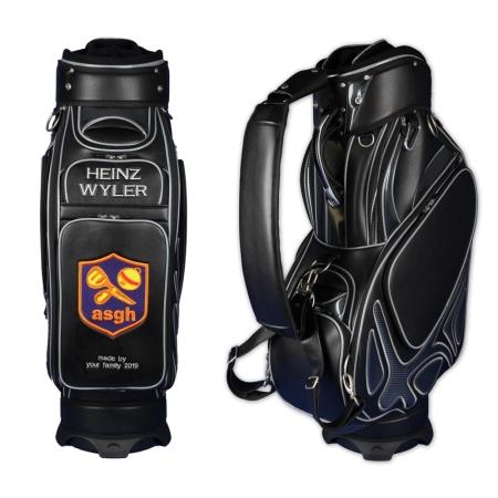 2 zone ricamate. Sacca da golf staff MONTROSE personalizzata in nero. Disegnare in linea