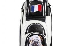 Golfbag / Cartbag in schwarz/weiss: Hund/Boxer