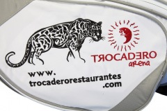Golfbag / Standbag in weiss/silber: Leopard