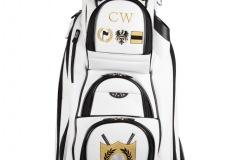 Golfbag / Cartbag in weiss. Golfball mit Lorbeerkranz