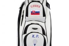 Golfbag / Cartbag weiss. Golfball mit Tee