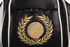 Golfbag / Cartbag: Goldener Golfball mit Lorbeerkranz