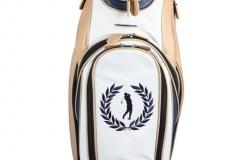 Individuells Golfbag aus echtem Leder: Golfer mit Lorbeerkranz