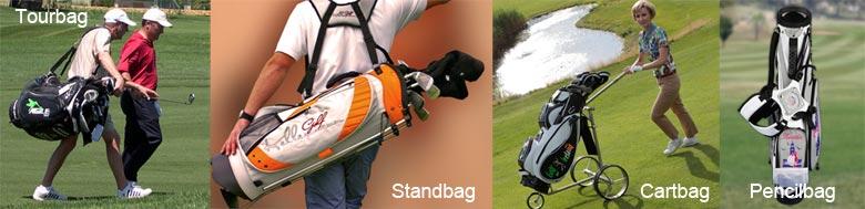 Golfbag-Modelle von Kellermann Golf: Tourbag, Standbag, Cartbag, Pencil Standbag