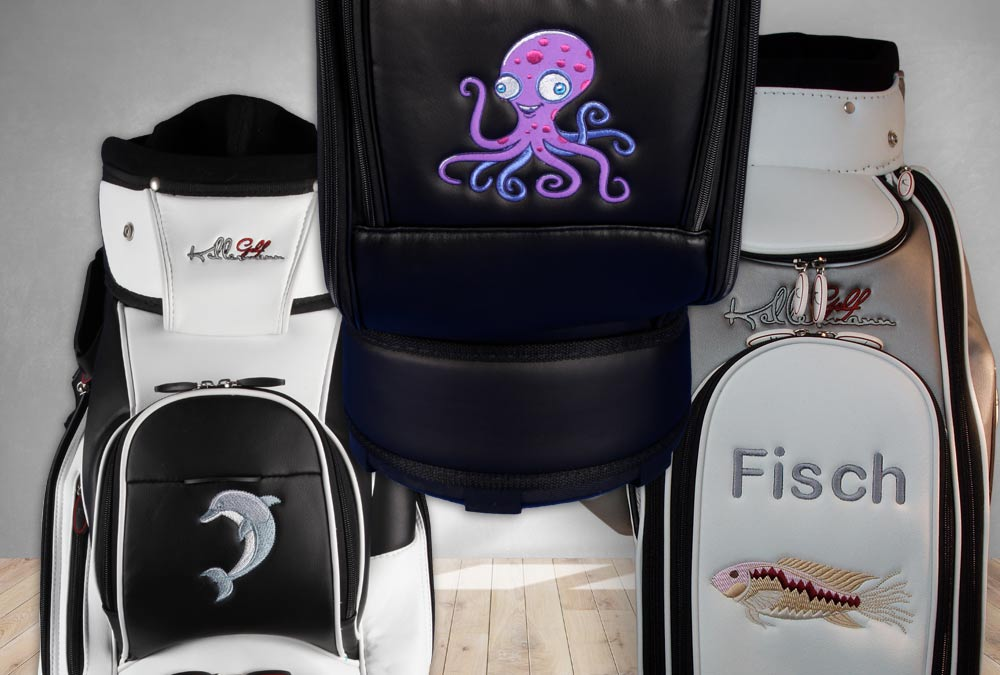 Tiere schwimmend. Golfbags individuell