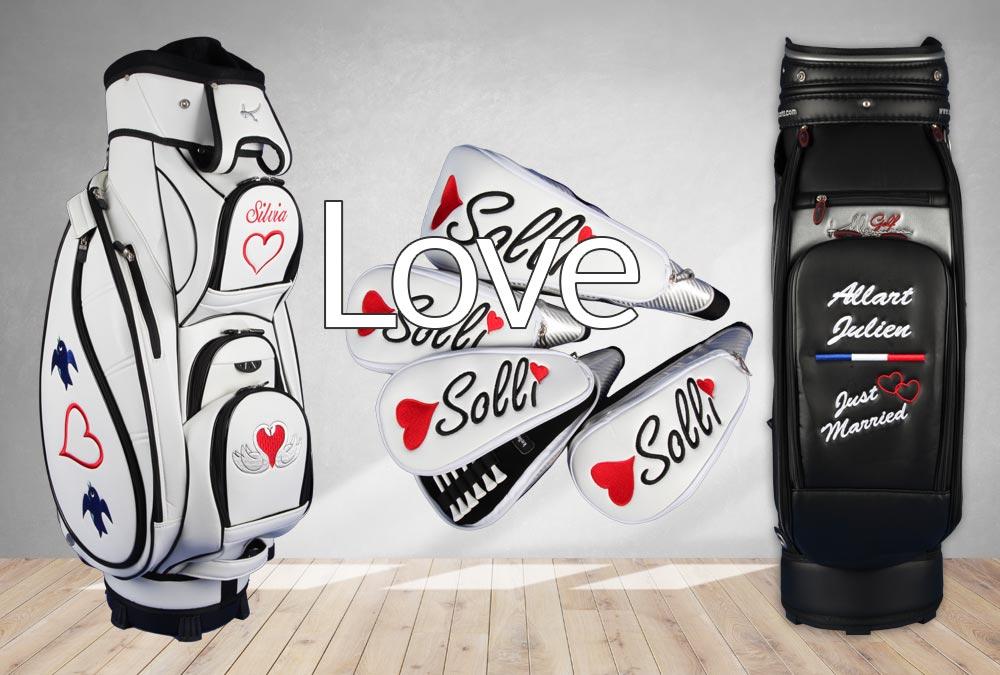Golfbags zum Thema Liebe