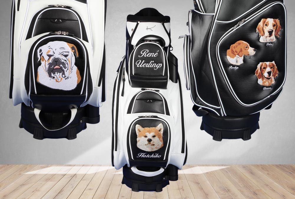 Golfbags mit Hundeportrait