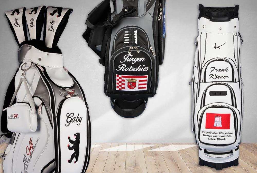 Golfbags mit den Flaggen Berlin, Hamburg, Bremen