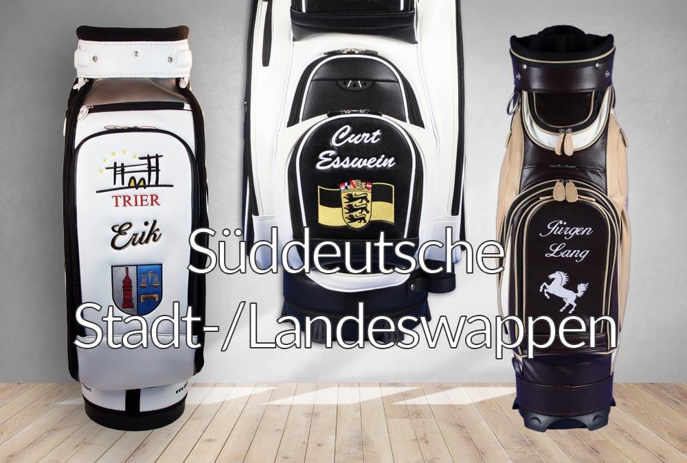 Golfbags mit süddeutschen Wappen