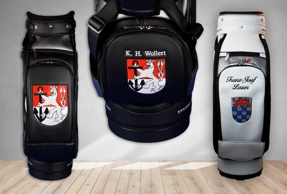 Golfbags mit Wapen von Düsseldorf und St. Agustin