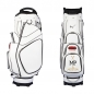 Preview: Golf bag / cart bag in white. Personalized on the ball pocket. Design your cart bag online. Classic Bauhaus style.