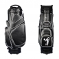 Preview: Golf bag / cart bag in black. Personalized on the front. Design your cart bag online. Golf bag in classic Bauhaus style.