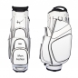 Preview: Golf bag / cart bag in white or black. Personalized on the ball pocket with a name or initials. Classic Bauhaus style.