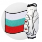 Preview: Golf bag / cart bag in white or black. Personalized  with a name and a national flag. Classic Bauhaus style.