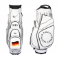 Preview: Golf bag / cart bag in white or black. Personalized  with a name and a national flag as well as a monogram on both sides. Classic Bauhaus style.