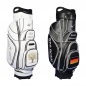 Preview: Golf bag / cart bag in white or black. Personalized  with a company logo on 4 custom areas. Classic Bauhaus style.