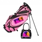 Preview: Golf Bag / stand bag in pink. Custom stitched on 5 custom areas with a company logo