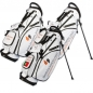 Preview: Custom stitched golf bag / stand bag in black or white for golf teams. Customized with a team logo on front, side and strap system. Waterproof.