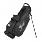 Preview: Custom stitched golf bag / stand bag in black or white. Ball pocket and left side pocket custom-stitched with a name and a national flag. Waterproof.