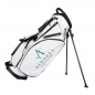 Preview: Custom stitched golf bag / stand bag in black or white. Custom-stitched with a  company logo on front, side and strap system. Waterproof.