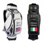 Preview: Golf bag / tour bag in black or white. Custom stitched with a national flag and the player's name.