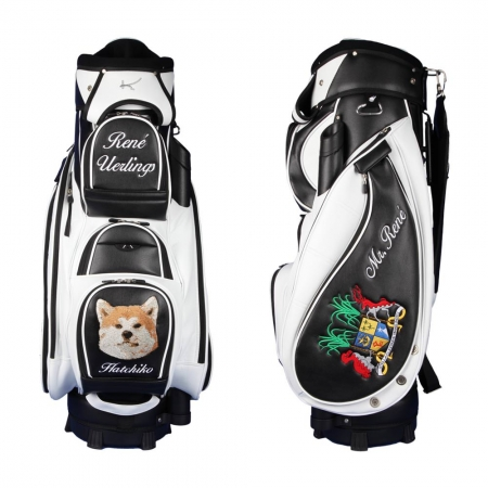 Golf bag / cart bag type MADEIRA in BLACK/WHITE. Design 4 custom areas online
