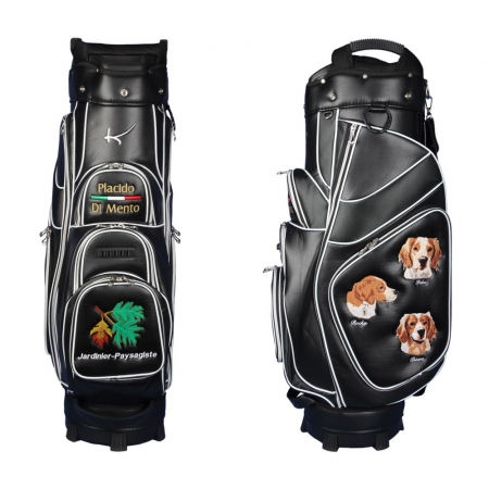 Golf bag / cart bag in black. Personalized on 4 areas. Design your cart bag online. Custom golf bag in classic Bauhaus style