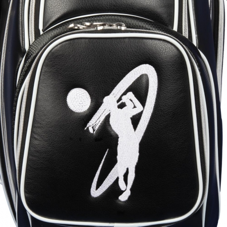 Golf bag / cart bag in black. Personalized on 4 areas. Design your cart bag online. Classic Bauhaus style. HANDMADE