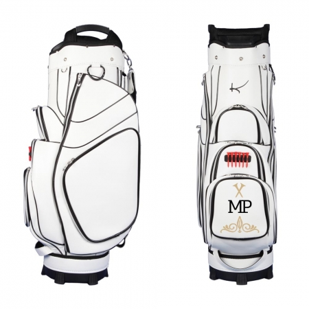 Golf bag / cart bag in white. Personalized on the ball pocket. Design your cart bag online. Classic Bauhaus style.