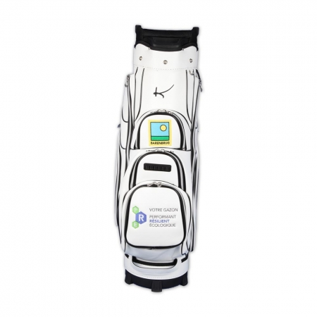 Golf bag / cart bag in white. Personalized on the front. Design your cart bag online. Classic Bauhaus style.