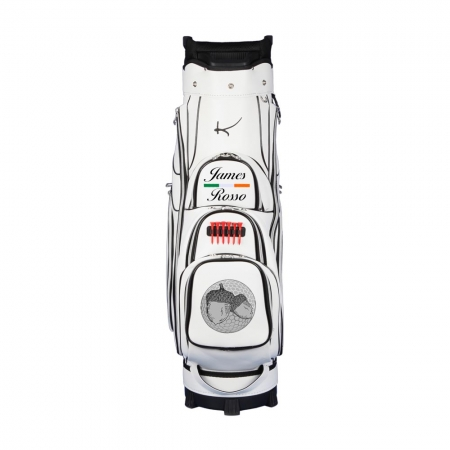 Golf bag / cart bag type GENEVA in white. Bauhaus style. Design 2 custom areas online