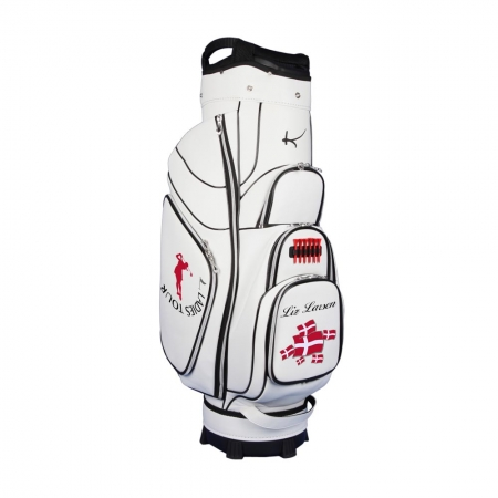 Golf bag / cart bag type GENEVA in white. Bauhaus style. Design 3 custom areas online