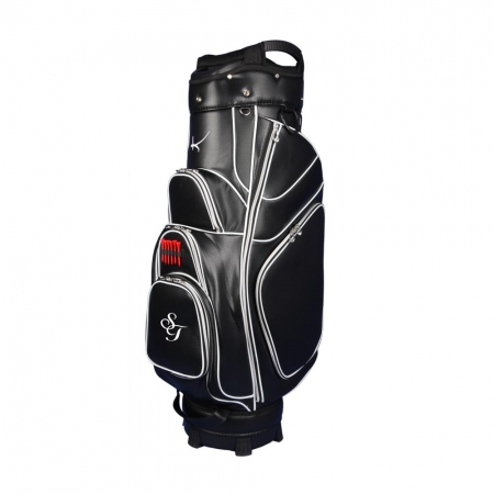 Golf bag / cart bag in white or black. Personalized on the ball pocket with a name or initials. Classic Bauhaus style.
