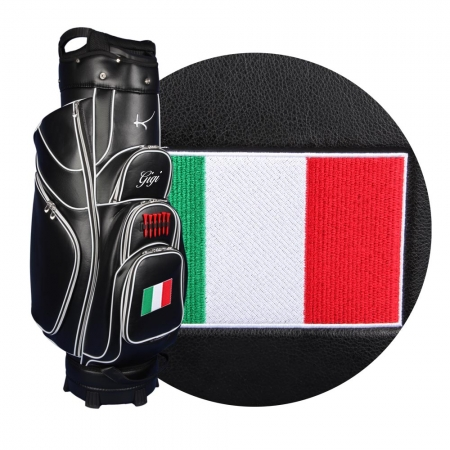 Golf bag / cart bag in white or black. Personalized  with a name and a national flag. Classic Bauhaus style.