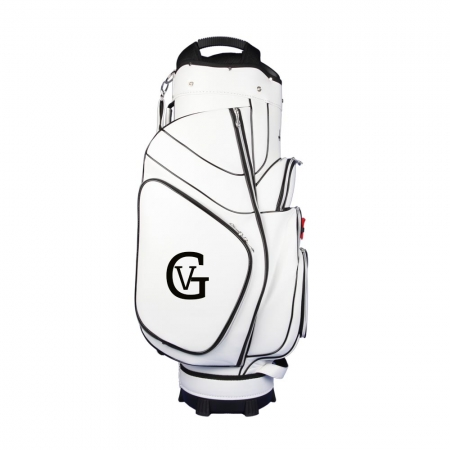 Golf bag / cart bag in white or black. Personalized  with a name and a national flag as well as a monogram on both sides. Classic Bauhaus style.