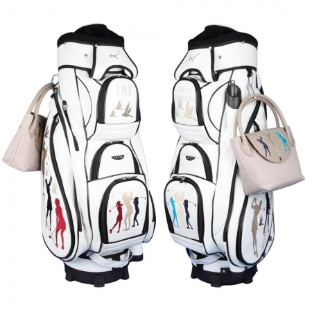"Ladies Set! Golfbag Typ Cartbag MADEIRA & Golf-Handtasche ONLY YOU: Design ""BIRDIE QUEEN"""