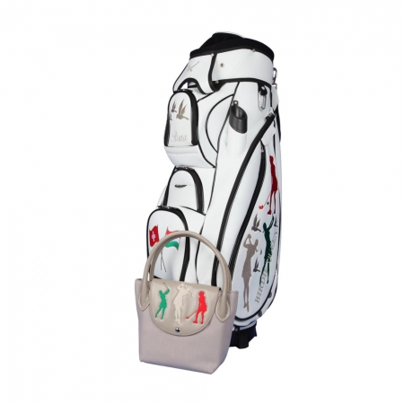 Golf bag / cart bag. Custom stitched on front and sides with an exclusive embroidery design