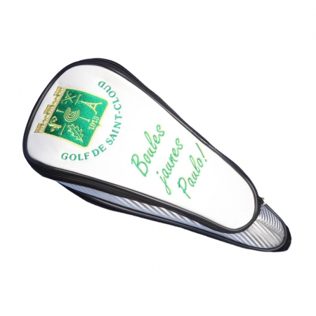 Personalized driver head cover in WHITE. Design a custom-stitched driver head cover online