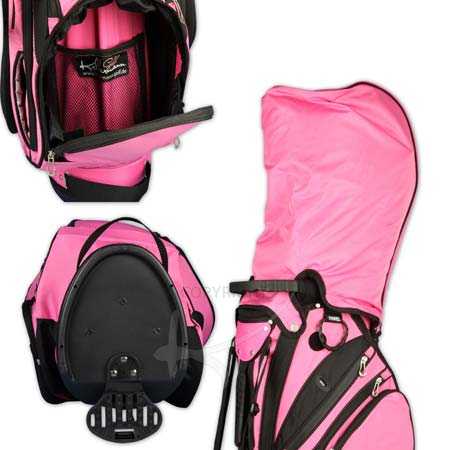 Golf Bag / stand bag in pink. Custom stitched on 5 custom areas with a company logo