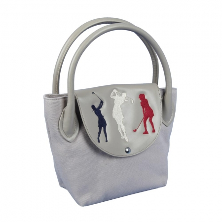 "Golf handbag ONLY YOU. Golf Design: ""Birdie Queen"". Sand colored subtle elegance. With material defects"