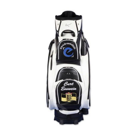 Golf bag / cart bag. Custom stitched on front and sides with a company logo