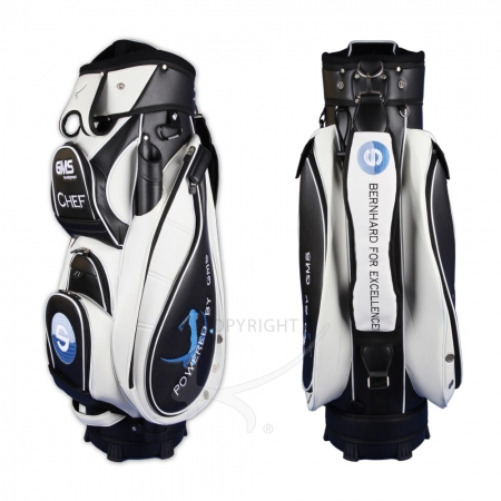 Golf bag / cart bag type MADEIRA in BLACK/WHITE. Design 5 custom areas online. HANDMADE