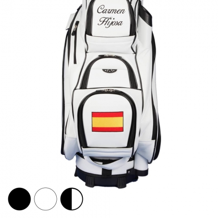 Golf Bag / Cart Bag. Mit Name und Nationalflagge individuell bestickt.