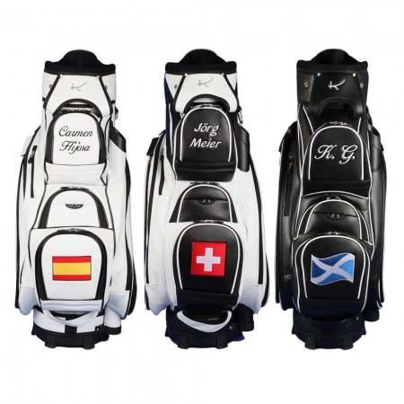 Golf bag / cart bag. Ball pocket custom stitched with a name and a national flag
