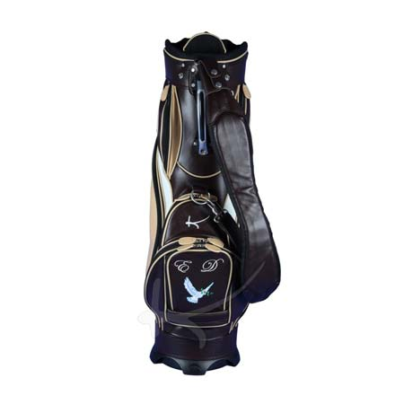 Luxury custom golf bag. Made of genuine leather. 4 custom stitched areas