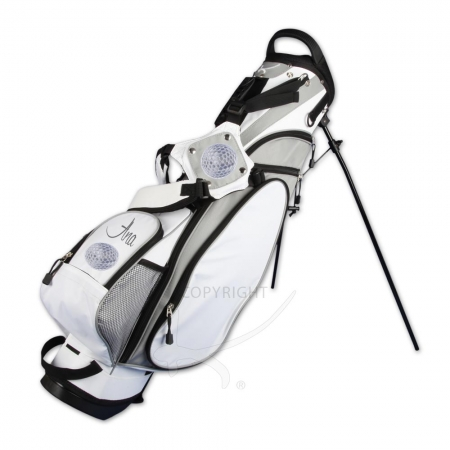 Golfbag / pencil stand MARRAKESH in white. Design 2 custom areas