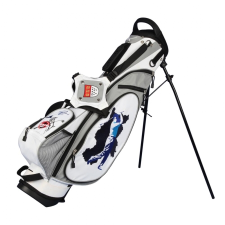 4 Bereiche designen. Pencil Standbag in weiss. Golfbag Typ MARRAKESH individuell bestickt